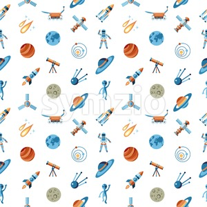Digital vector line icons set space and rockets illustration with elements for astronomy, seamless pattern Stock Vector