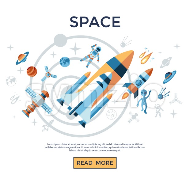 Digital vector line icons set space and rockets illustration with elements for astronomy infographics Stock Vector
