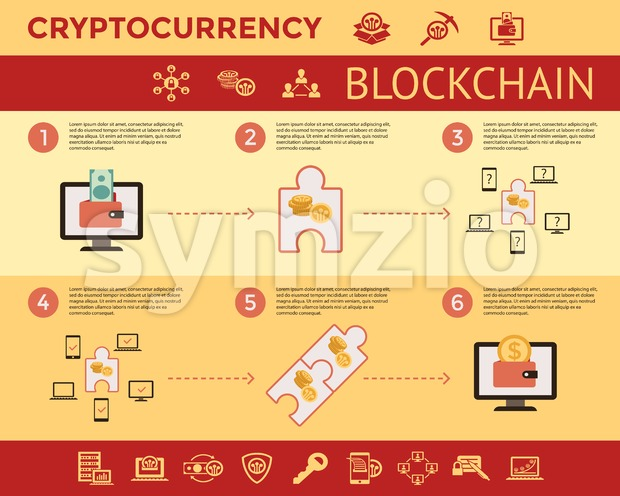 Digital vector line icons set blockchain pack illustration with elements for cryptocurrency mining infographics Stock Vector