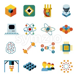 Digital vector quantum computing and qubits icon set pack illustration, simple line flat style Stock Vector