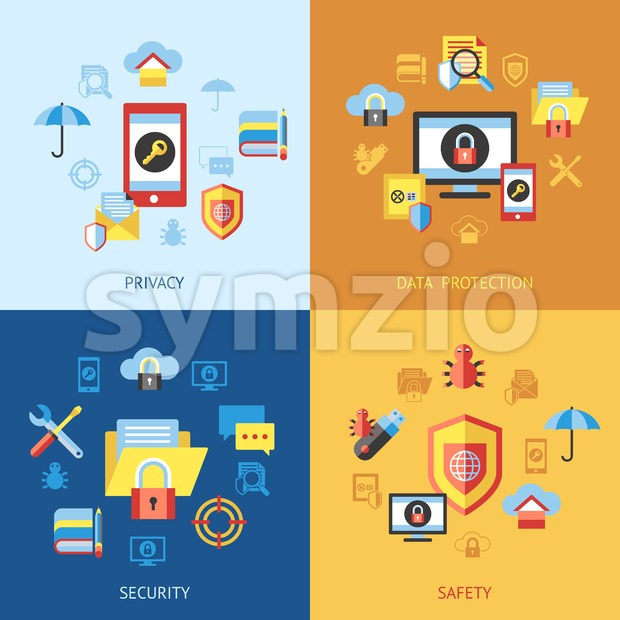 Digital vector data securuty and privacy protection icon set pack illustration, simple line flat style infographics Stock Vector