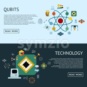 Digital vector quantum computing and qubits icon set pack illustration, simple line flat style infographics Stock Vector