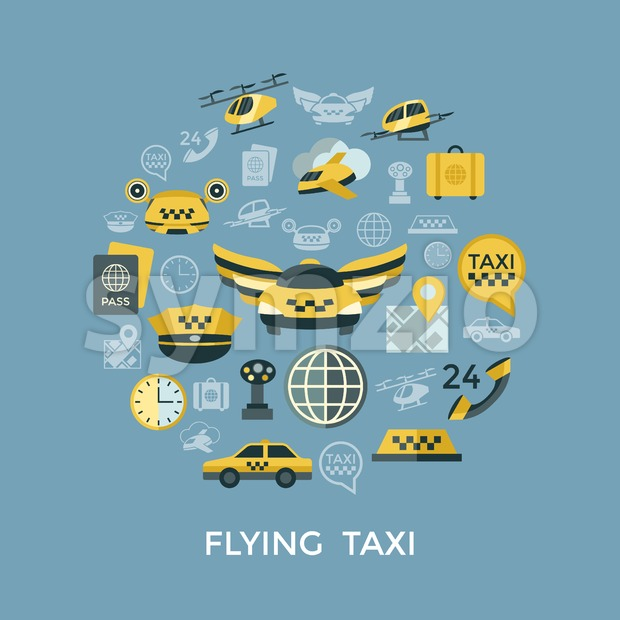 Digital vector flying taxi drone icon set pack illustration, simple line flat style infographics Stock Vector