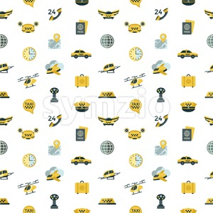Digital vector flying taxi drone icon set pack illustration, simple line flat style seamless pattern Stock Vector