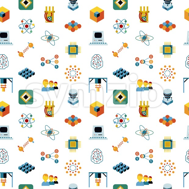 Digital vector quantum computing and qubits icon set pack illustration, simple line flat style seamless pattern Stock Vector