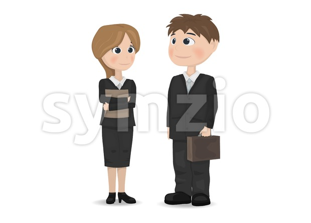 Man and woman talking Vector. Businessman, teacher or manager professions Vector. cartoon character Stock Vector