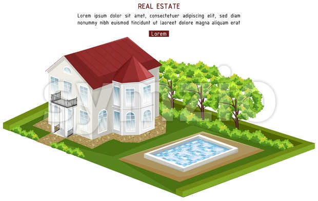 Real estate house with pool isolated Vector. architecture 3d illustration Stock Vector