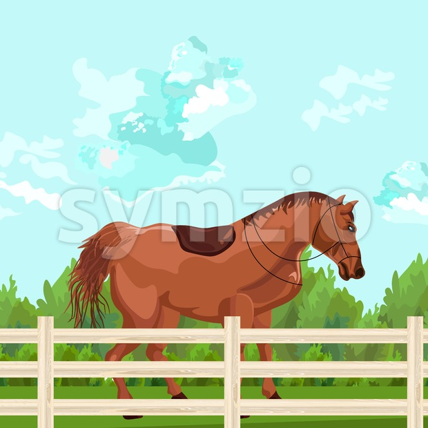 Horse outdoors Vector. Elegant Detailed animal illustration green background Stock Vector