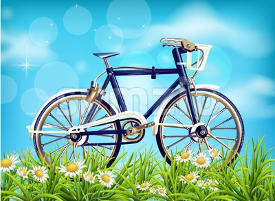 Realistic Bicycle spring background Vector. season green meadow and blue sky. Detailed 3d illustrations Stock Vector
