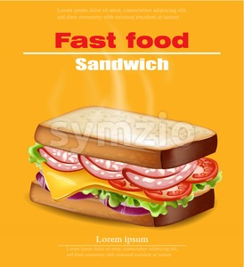 Hot Sandwich Vector realistic. Fast food mock up 3d detailed illustration Stock Vector