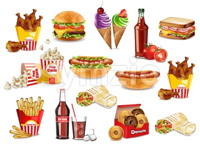 Fast food meals set collection Vector. Realistic detailed collection banner with hotdog, burger, sanwich, french fries, donuts, ice cream, pop corn Stock Vector