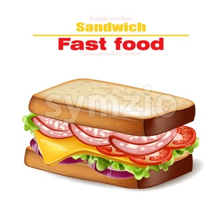 Sandwich Vector realistic. Fast food 3d detailed illustration Stock Vector