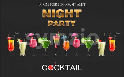 Cocktail drinks Vector realistic banner. Night party template with summer drinks set collection. 3d illustration Stock Vector