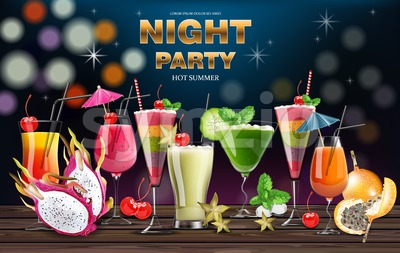 Cocktail drinks Vector realistic banner. Night party template with summer drinks collection. 3d illustration Stock Vector