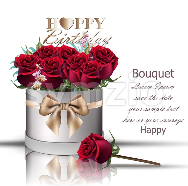 Happy Birthday red roses bouquet Vector. Vintage floral gift box with bow Stock Vector