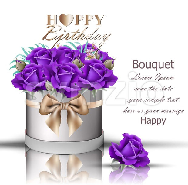 Happy Birthday violet roses bouquet Vector. Vintage floral gift box with bow Stock Vector