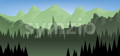 Abstract landscape with a dark forest and green fields with mountains Stock Vector