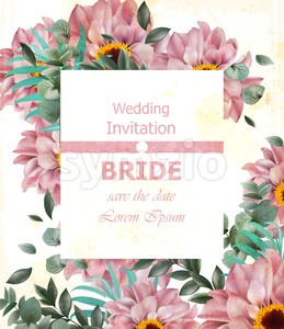 Wedding invitation with delicate daisy flowers Vector. Beautiful card background illustration Stock Vector