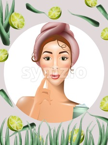 Woman using cream lotion on her face Vector. Realistic beauty product. Icon template design packaging mock up Stock Vector