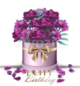 Happy Birthday Peony flowers bouquet card Vector. Vintage gift box. Beautiful floral decor. ultra violet color Stock Vector