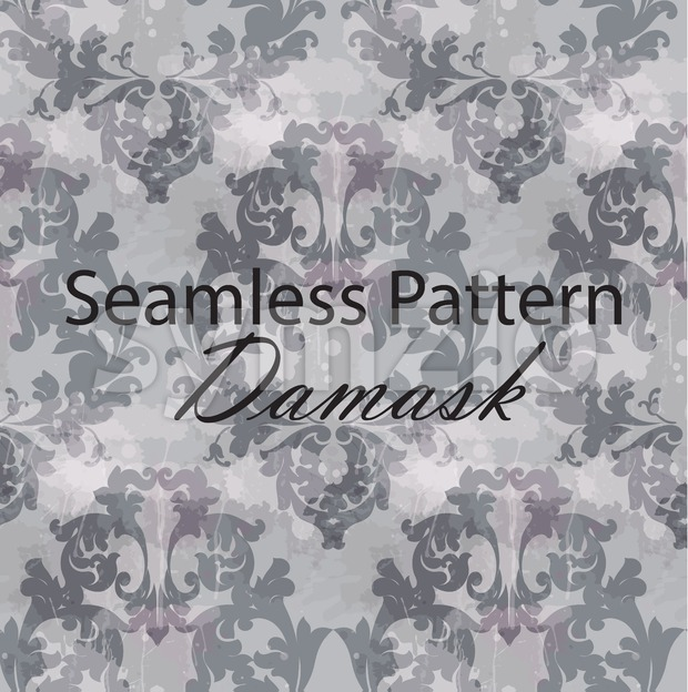 Vintage Baroque seamless texture pattern Vector. Wallpaper ornament decor. Textile, fabric, tiles. Gray color Stock Vector