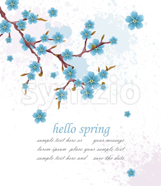 Hello spring vintage background with blue flowers. Vector illustration. Minimalistic elegant card background Stock Vector