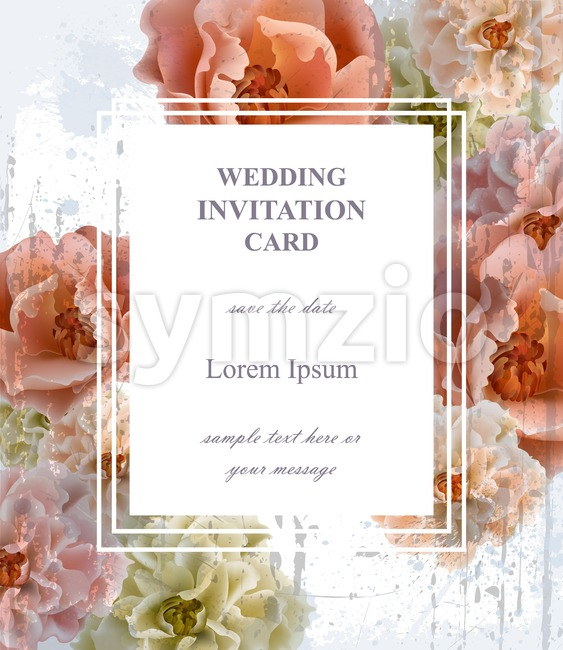 Wedding invitation card Vector. Beautiful floral frame vertical. Banner poster template 3d background Stock Vector