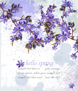 Hello spring card with purple flowers Vector. Beautifull decor Stock Vector