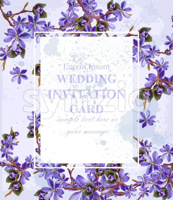 Wedding Invitation card with purple flowers Vector. Beautifull frame decoration Stock Vector