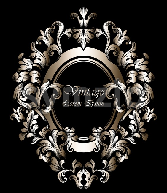 Round Golden Frame Vector. Classic rich ornamented carved decors. Baroque sophisticated design Stock Vector