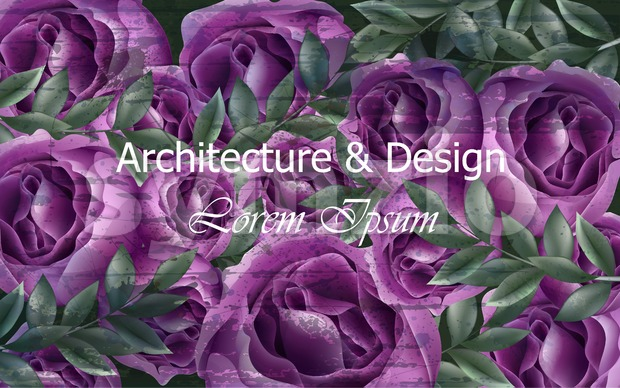 Beautiful roses background post card Vector. Violet roses flowers decor. Elegant vintage backgrounds. Creative architecture and design decor Stock Vector