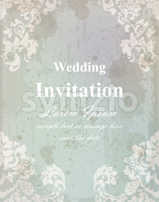 Vintage wedding invitation card. Baroque royal decor. Old paper effect style Stock Vector