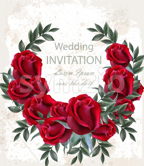 Wedding roses wreath Vector. Beautiful red flowers garland. Invitation card elegant decor realistic 3d bouquet Stock Vector