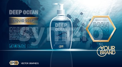 Digital vector blue deep ocean liquid soap mockup Stock Vector