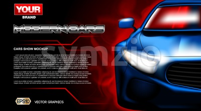 Digital vector blue new modern sport car close up mockup, ready for print or magazine design. Your brand, auto show and exhibition, lights on. Black Stock Vector