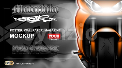 Digital vector orange new modern sport motorcycle close up mockup, ready for print or magazine design. Your brand, motor show and exhibition, lights Stock Vector