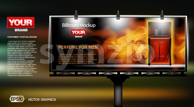 Digital vector red perfume cosmetic container mockup on a street billboard at night, lights on, your brand, ready for print ads, magazine design. Stock Vector