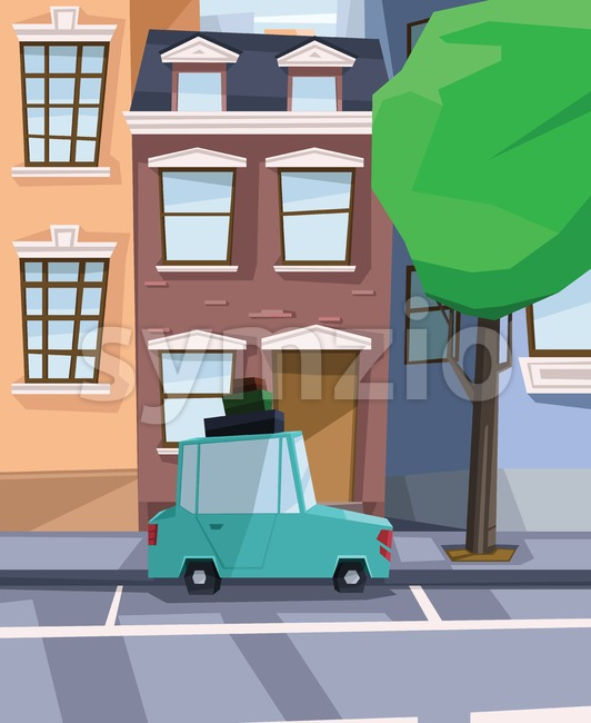 Digital vector abstract background with a street and road between houses, urban, cartoony green car with luggage on top, big green tree, flat triangle Stock Vector
